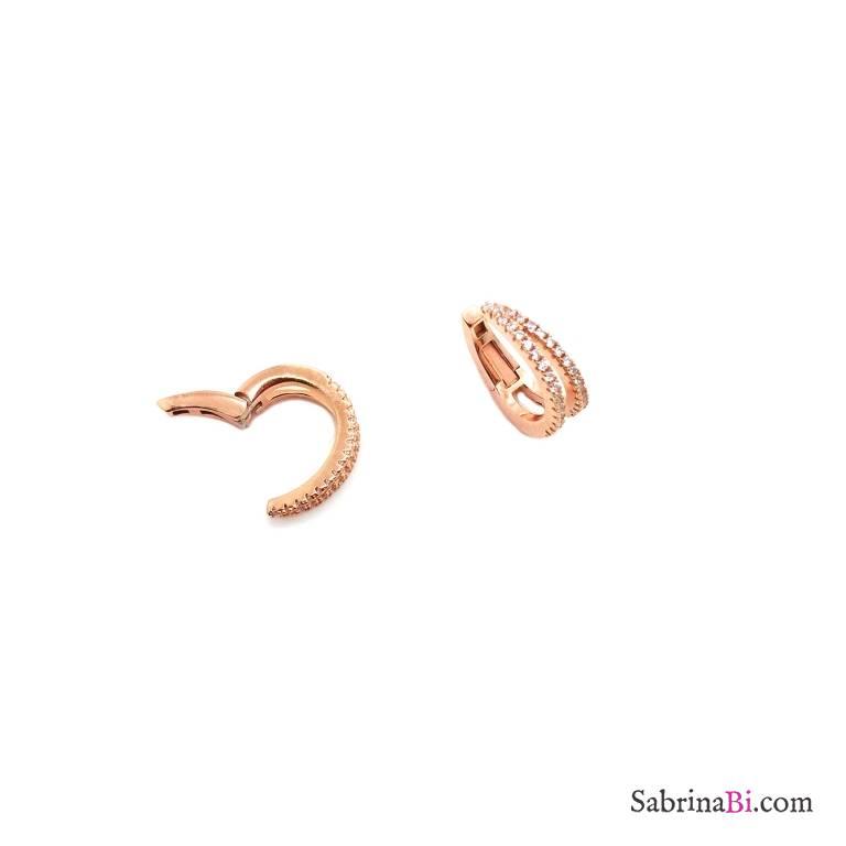 Mono ear cuff doppio mini cerchio zirconato argento 925 oro rosa