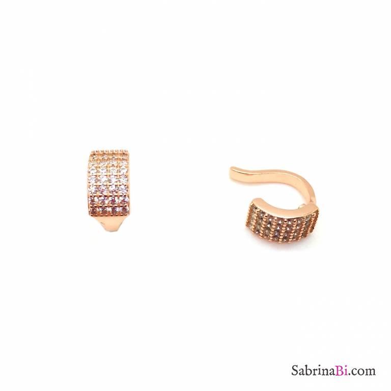Mono ear cuff mini cerchio argento 925 oro rosa Zirconi