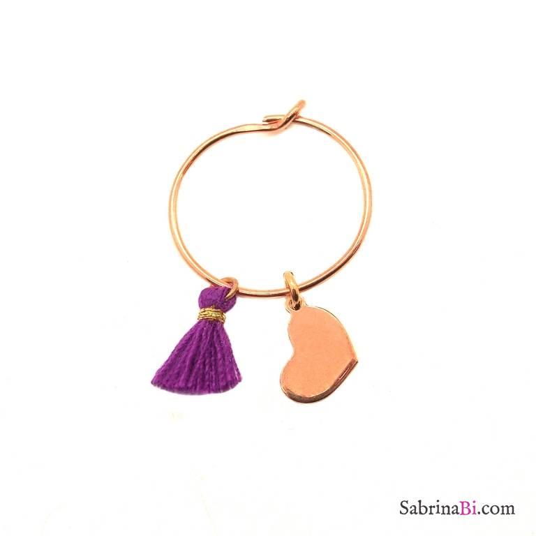 Mono-orecchino a cerchio 1,4cm argento 925 oro rosa Cuore + nappina