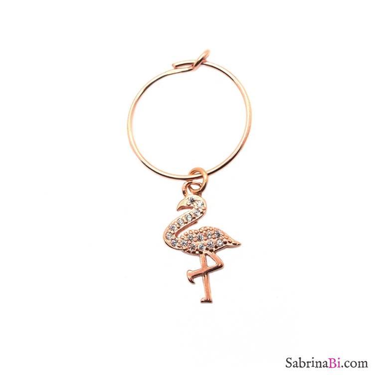 Mono-orecchino a cerchio 1,4cm argento 925 oro rosa Fenicottero Zirconi