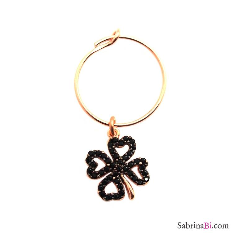 Mono-orecchino a cerchio 1,4cm argento 925 oro rosa quadrifoglio Zirconi neri