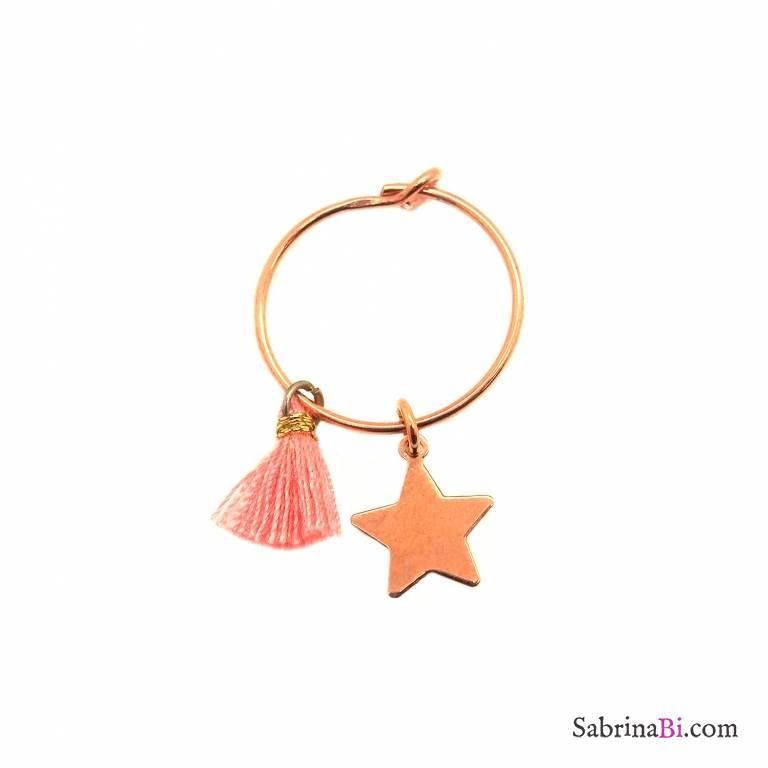 Mono-orecchino a cerchio 1,4cm argento 925 oro rosa stella + nappina