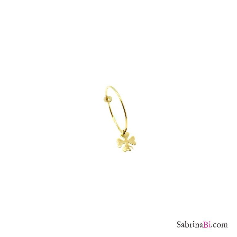 Clover yellow gold sterling silver 1,5 cm hoop mono-earring