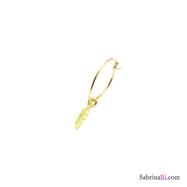 Mono-orecchino a cerchio 1,5cm argento 925 oro giallo piuma