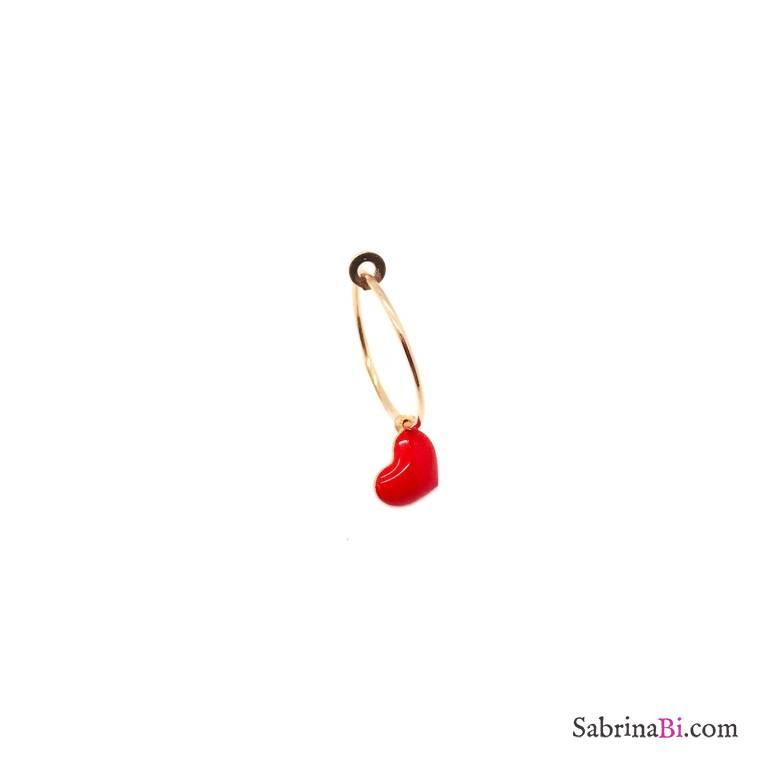 Red enamel heart rose gold sterling silver 1,5cm hoop mono-earring