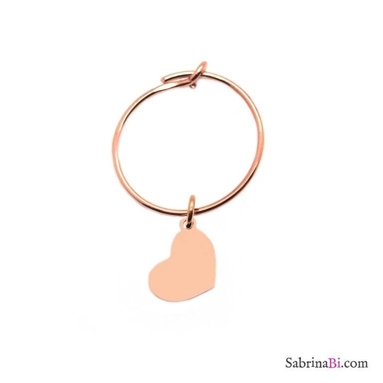 Mono-orecchino a cerchio 1,5cm argento 925 oro rosa cuore