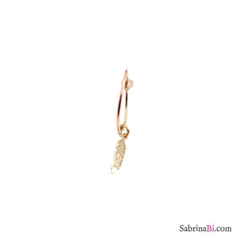 Mono-orecchino a cerchio 1,5cm argento 925 oro rosa piuma