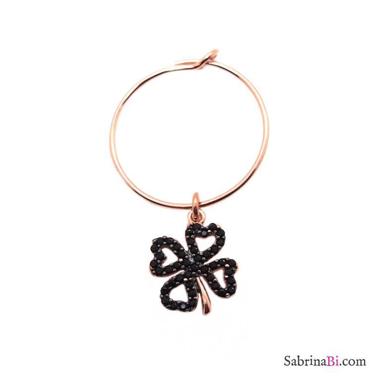 Mono-orecchino a cerchio 1,7cm argento 925 oro rosa quadrifoglio Zirconi neri