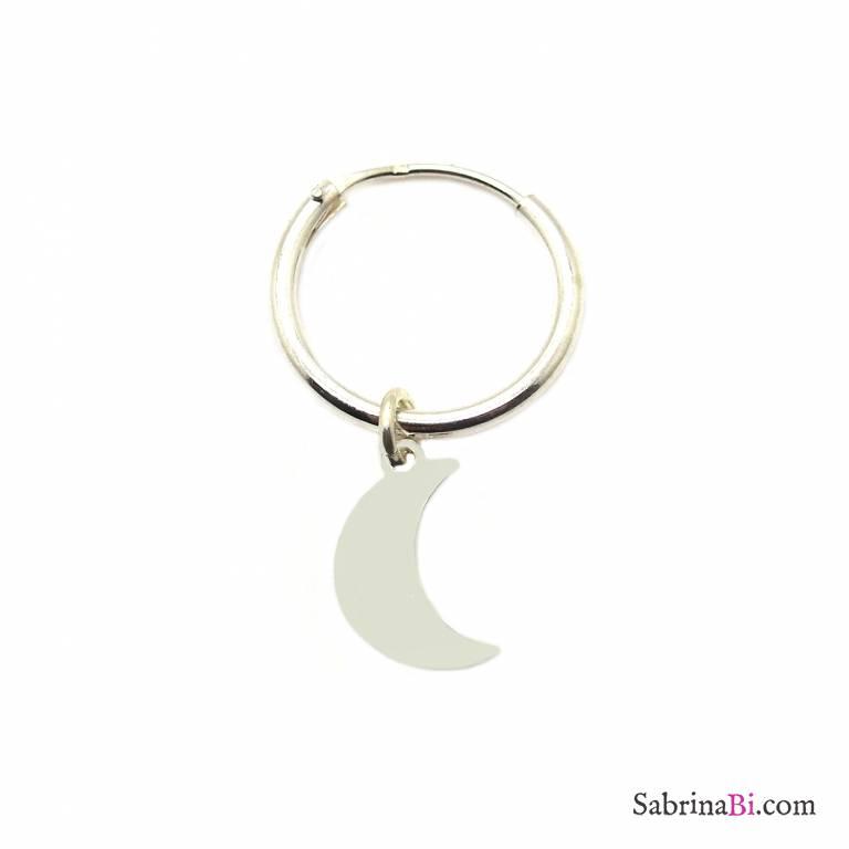 Mono-orecchino a cerchio 1cm argento 925 luna