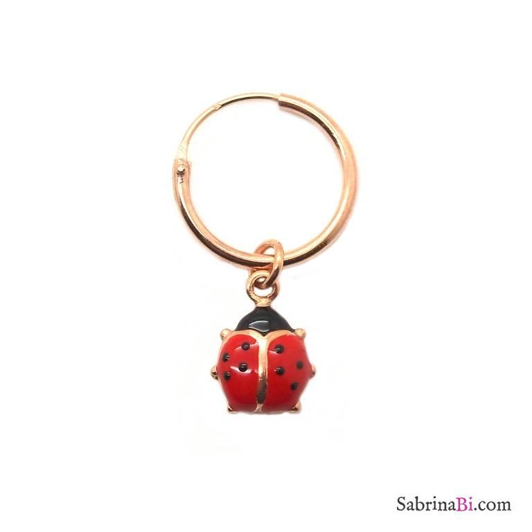 Mono-orecchino a cerchio 1cm argento 925 oro rosa Coccinella