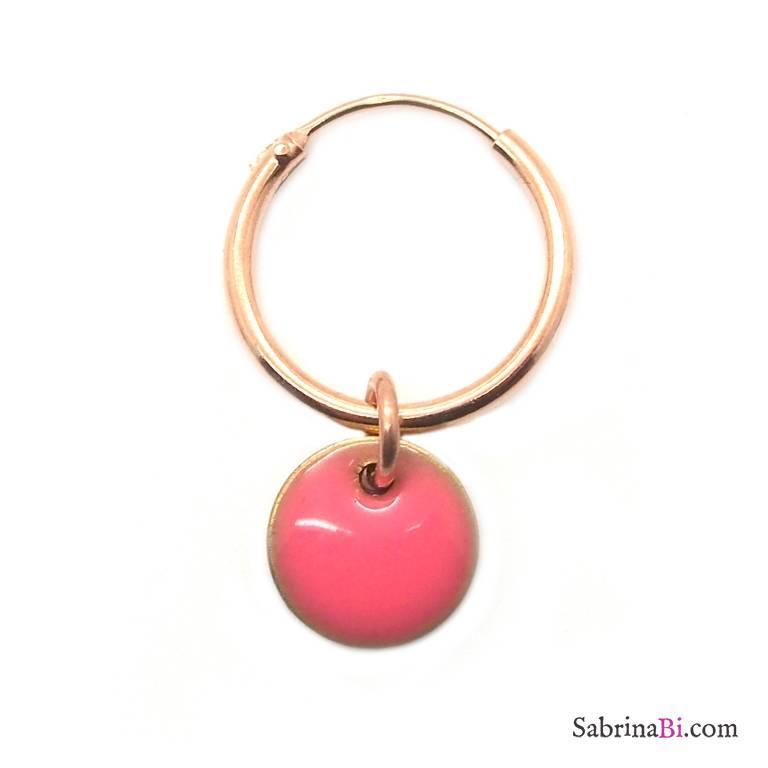 Mono-orecchino a cerchio 1cm argento 925 oro rosa Coin smalto rosa