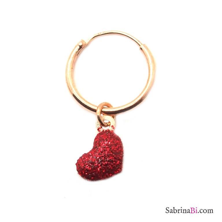 Mono-orecchino a cerchio 1cm argento 925 oro rosa Cuore rosso glitter