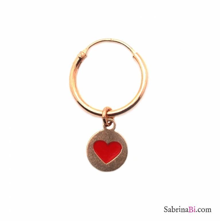 Mono-orecchino a cerchio 1cm argento 925 oro rosa Cuore rosso inscritto