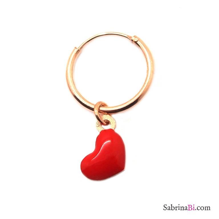 Mono-orecchino a cerchio 1cm argento 925 oro rosa Cuore smalto rosso