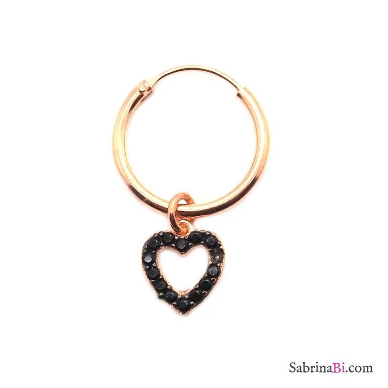 Mono-orecchino a cerchio 1cm argento 925 oro rosa Cuore vuoto Zirconi neri
