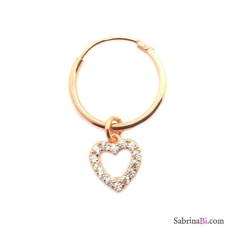 Mono-orecchino a cerchio 1cm argento 925 oro rosa Cuore vuoto Zirconi