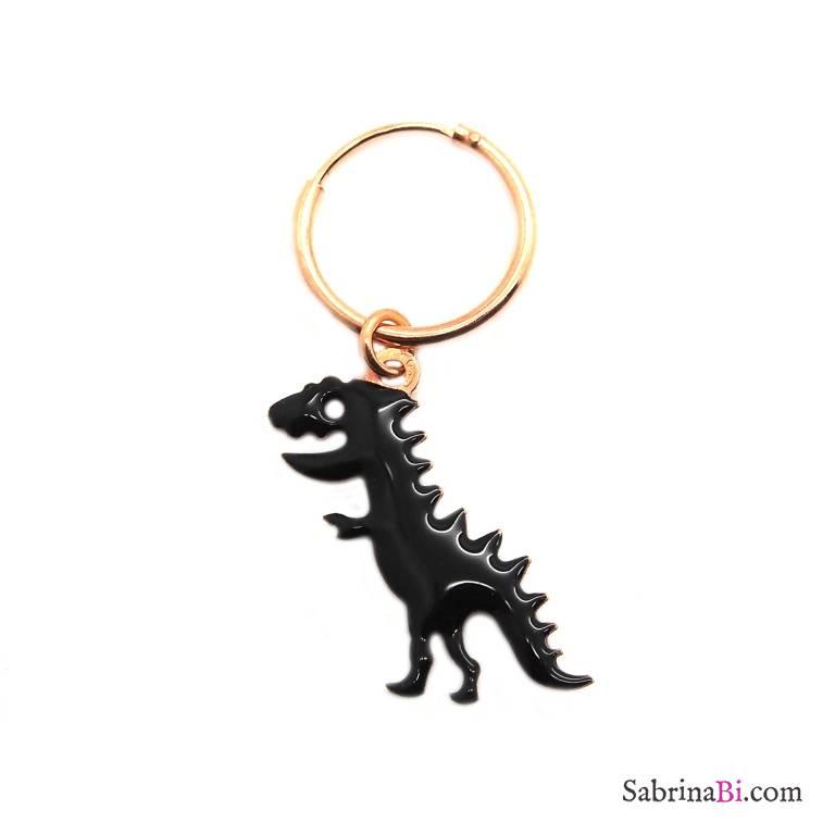 Mono-orecchino a cerchio 1cm argento 925 oro rosa Dinosauro smalto nero