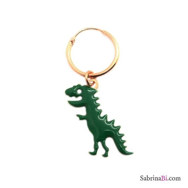 Mono-orecchino a cerchio 1cm argento 925 oro rosa Dinosauro smalto verde