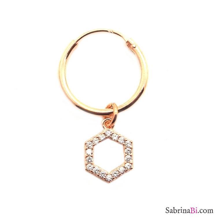 Mono-orecchino a cerchio 1cm argento 925 oro rosa Esagono Zirconi