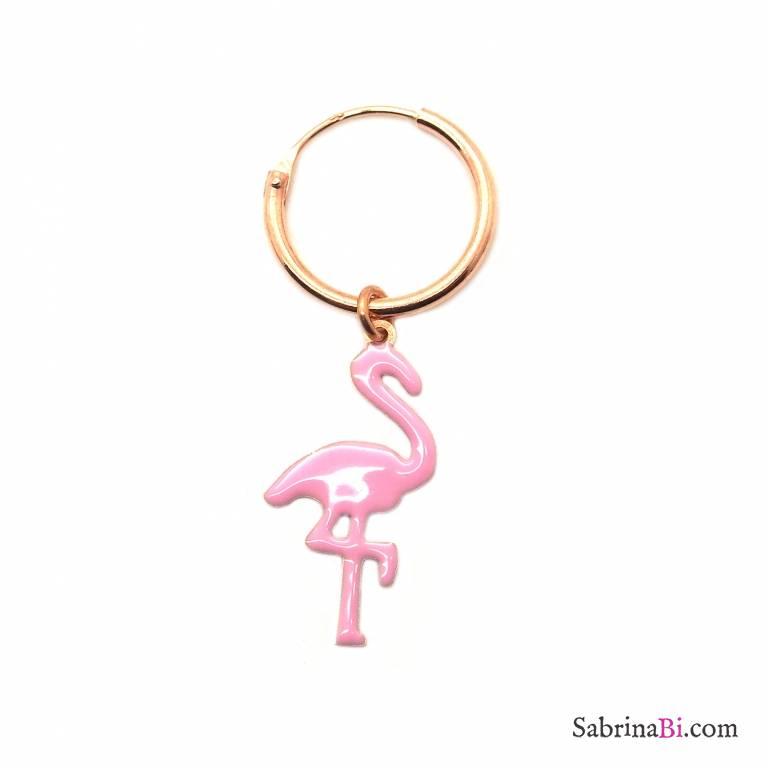 Mono-orecchino a cerchio 1cm argento 925 oro rosa Fenicottero rosa