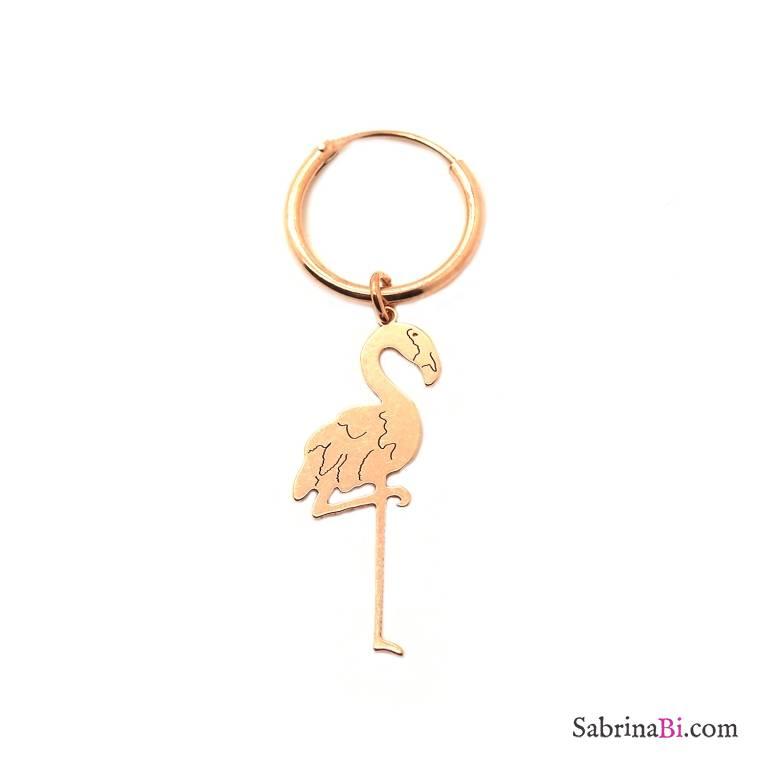 Mono-orecchino a cerchio 1cm argento 925 oro rosa Fenicottero