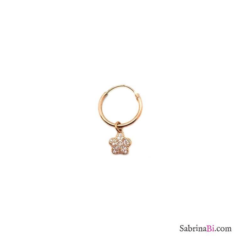 Zirconia flower rose gold sterling silver 1cm hoop mono-earring