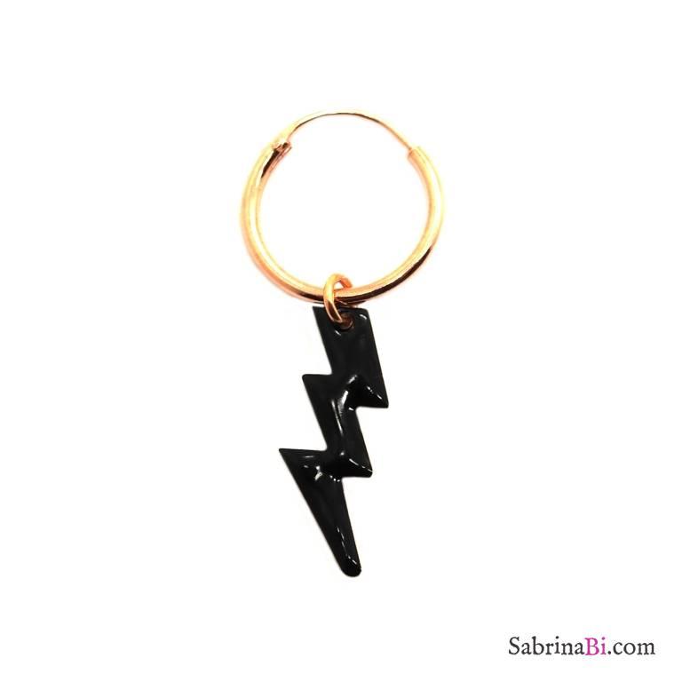 Mono-orecchino a cerchio 1cm argento 925 oro rosa Fulmine smalto nero