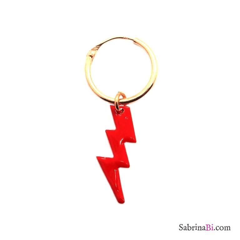 Mono-orecchino a cerchio 1cm argento 925 oro rosa Fulmine smalto rosso