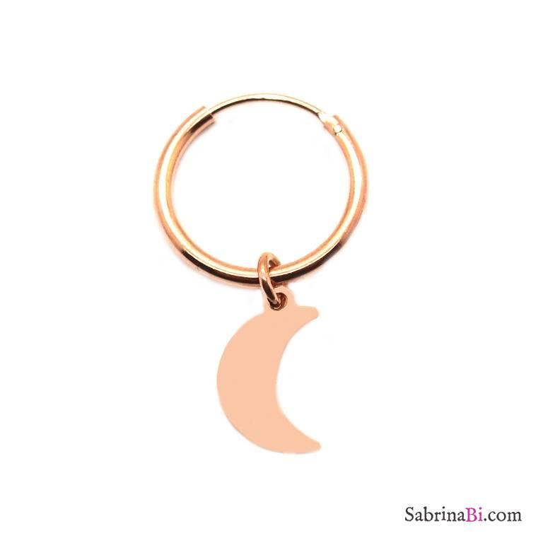 Mono-orecchino a cerchio 1cm argento 925 oro rosa luna