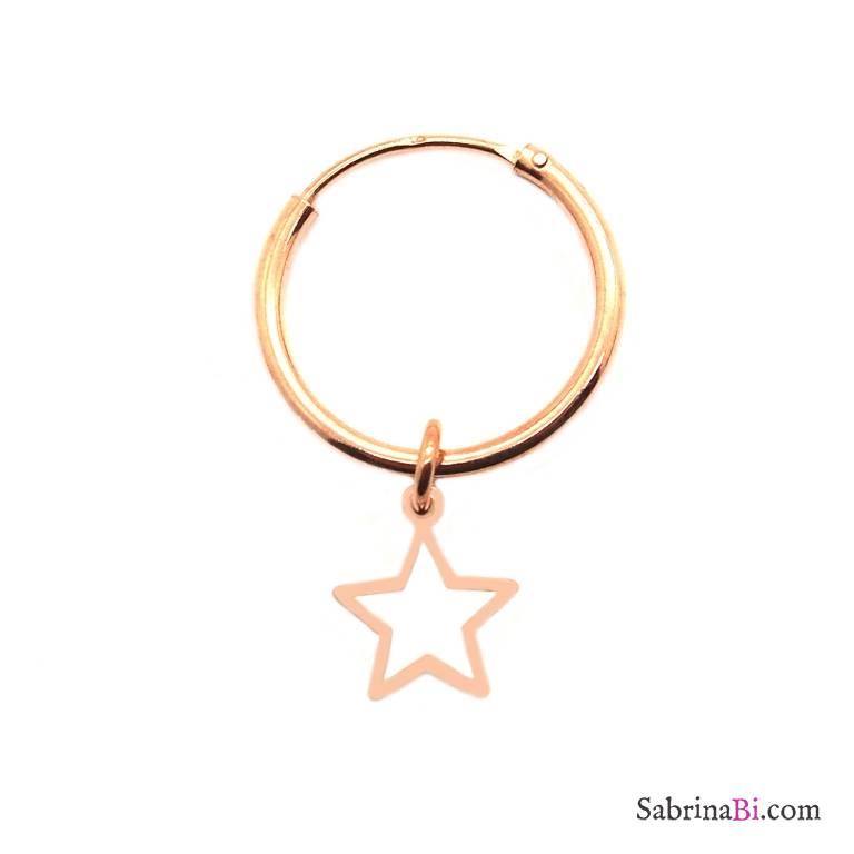 Mono-orecchino a cerchio 1cm argento 925 oro rosa mini stella vuota