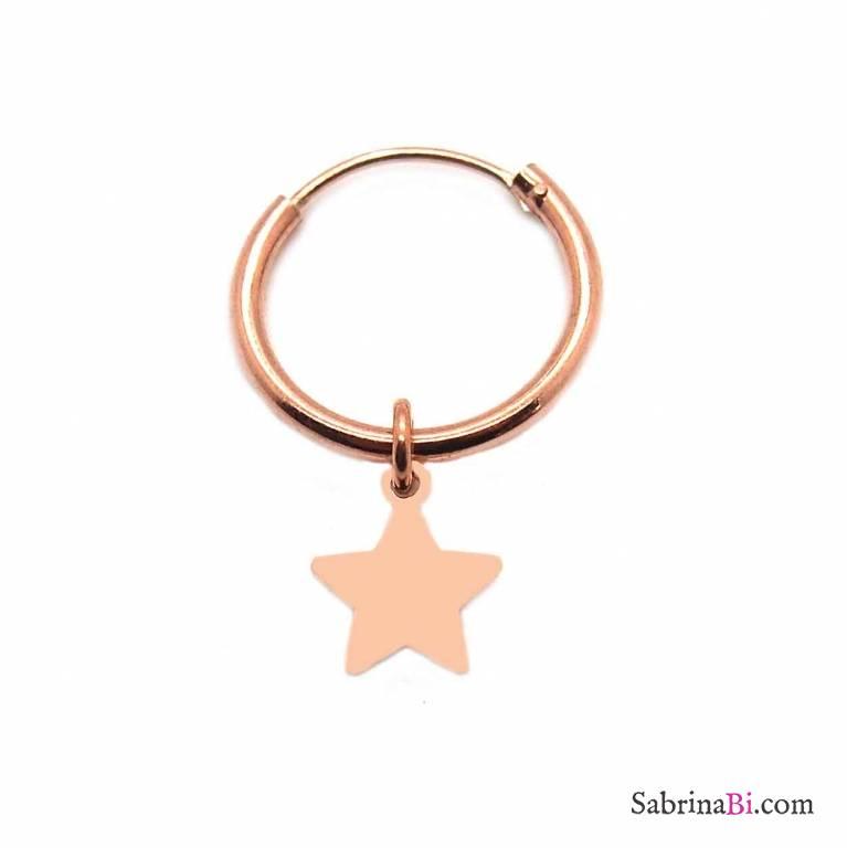 Mono-orecchino a cerchio 1cm argento 925 oro rosa mini stella