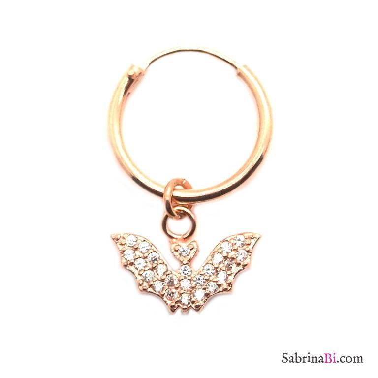 Mono-orecchino a cerchio 1cm argento 925 oro rosa Pipistrello Zirconi
