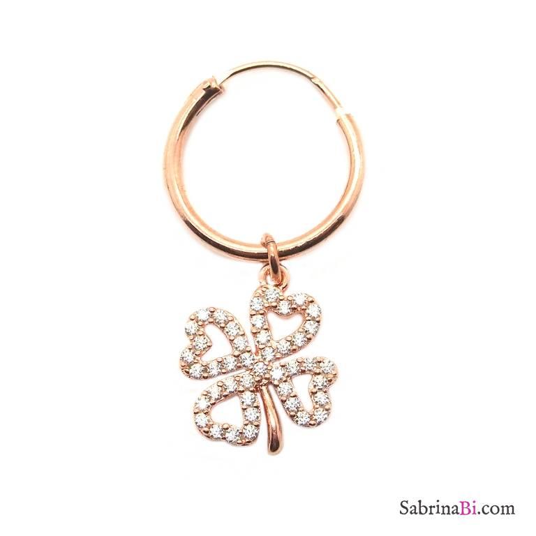 Mono-orecchino a cerchio 1cm argento 925 oro rosa Quadrifoglio Zirconi