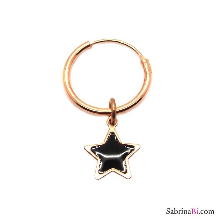 Mono-orecchino a cerchio 1cm argento 925 oro rosa Stella nera smalto cattedrale