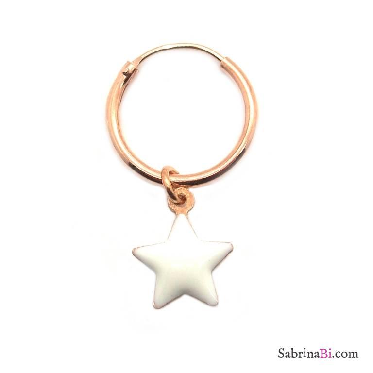 Mono-orecchino a cerchio 1cm argento 925 oro rosa Stella smalto bianco