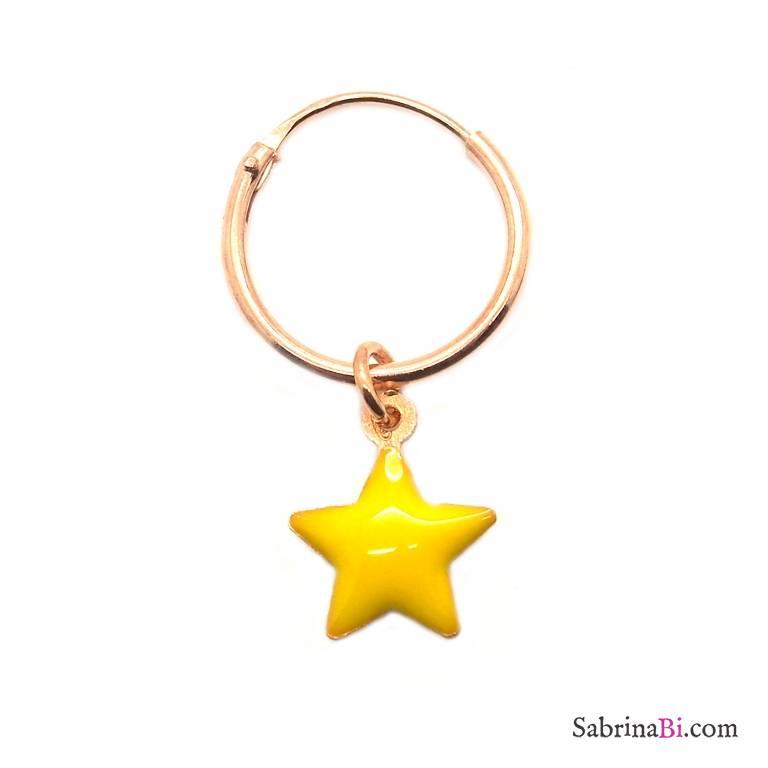 Mono-orecchino a cerchio 1cm argento 925 oro rosa Stella smalto giallo