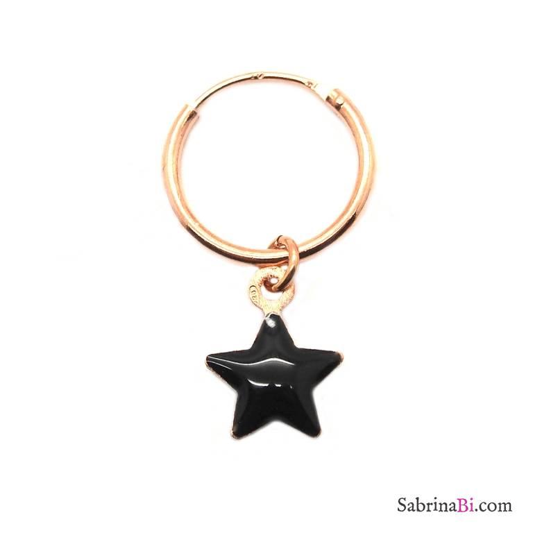 Mono-orecchino a cerchio 1cm argento 925 oro rosa Stella smalto nero