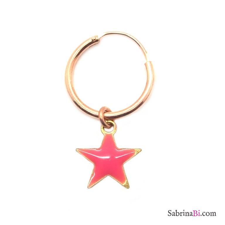 Mono-orecchino a cerchio 1cm argento 925 oro rosa Stella smalto rosa