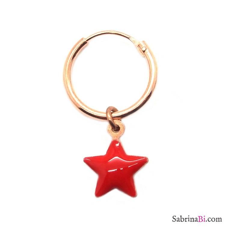 Mono-orecchino a cerchio 1cm argento 925 oro rosa Stella smalto rosso