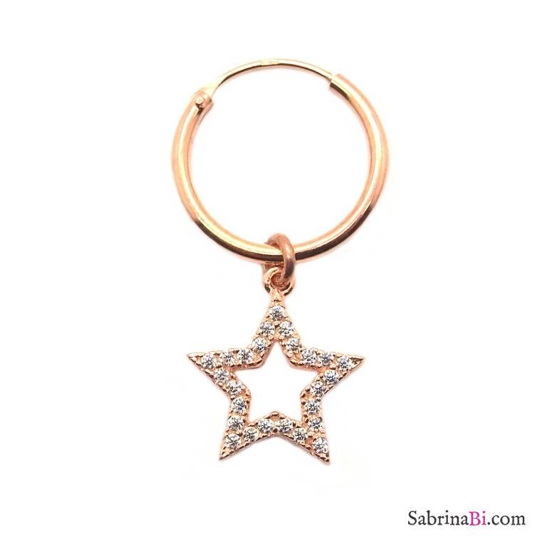 Mono-orecchino a cerchio 1cm argento 925 oro rosa Stella vuota Zirconi