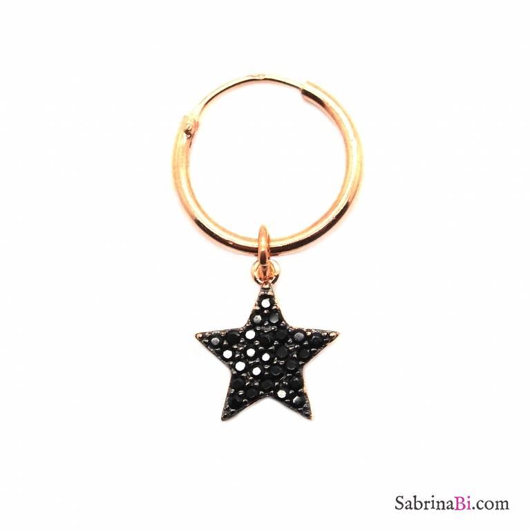 Mono-orecchino a cerchio 1cm argento 925 oro rosa Stella Zirconi neri lux