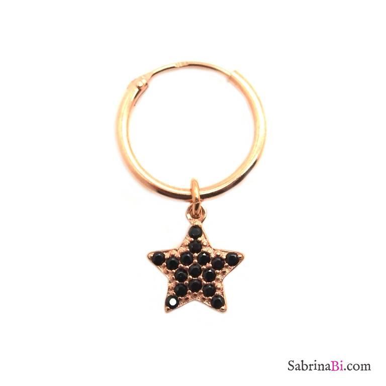 Mono-orecchino a cerchio 1cm argento 925 oro rosa Stella Zirconi neri