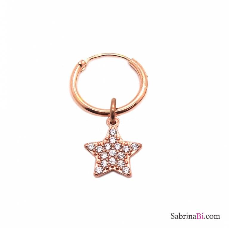 Mono-orecchino a cerchio 1cm argento 925 oro rosa Stella Zirconi