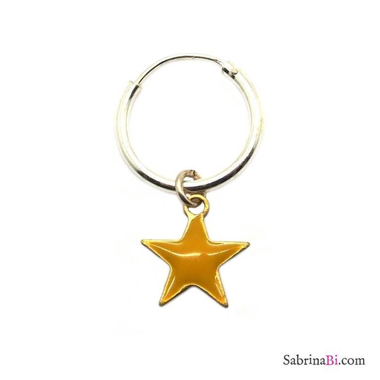 Mono-orecchino a cerchio 1cm argento 925 stella smalto giallo