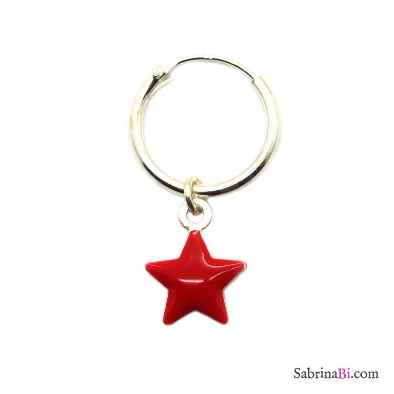 Mono-orecchino a cerchio 1cm argento 925 stella smalto rosso