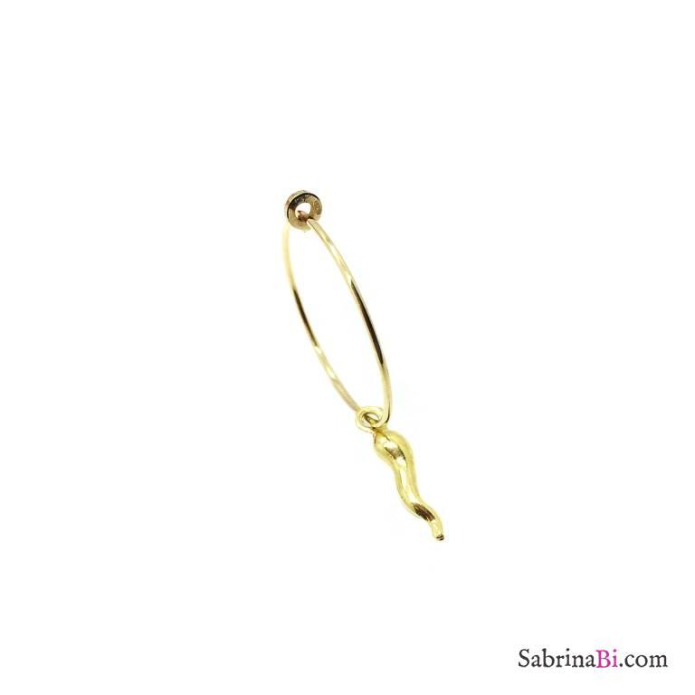 Mono-orecchino a cerchio 2cm argento 925 oro giallo cornetto grande