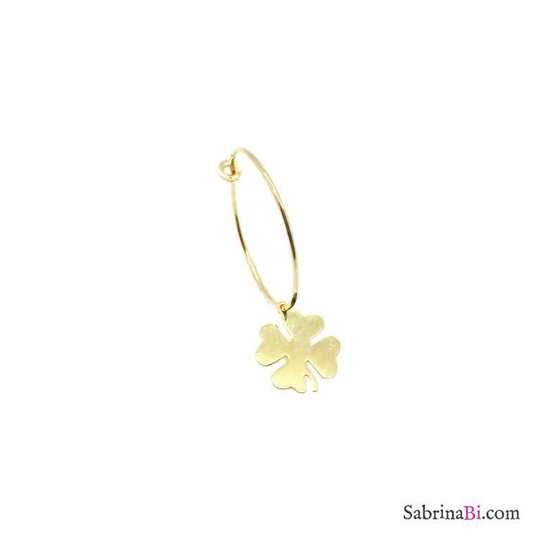 Mono-orecchino a cerchio 2cm argento 925 oro giallo Quadrifoglio