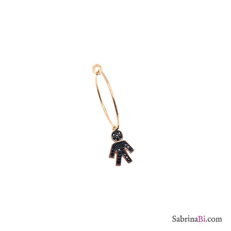 Mono-orecchino a cerchio 2cm argento 925 oro rosa Bebe Boy Zirconi neri