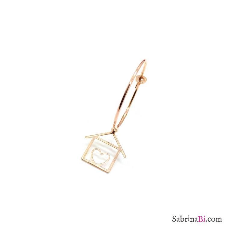 Mono-orecchino a cerchio 2cm argento 925 oro rosa Casetta cuore