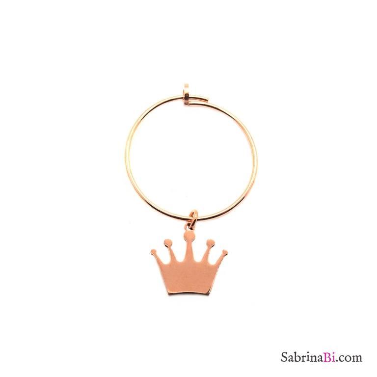 Mono-orecchino a cerchio 2cm argento 925 oro rosa Corona
